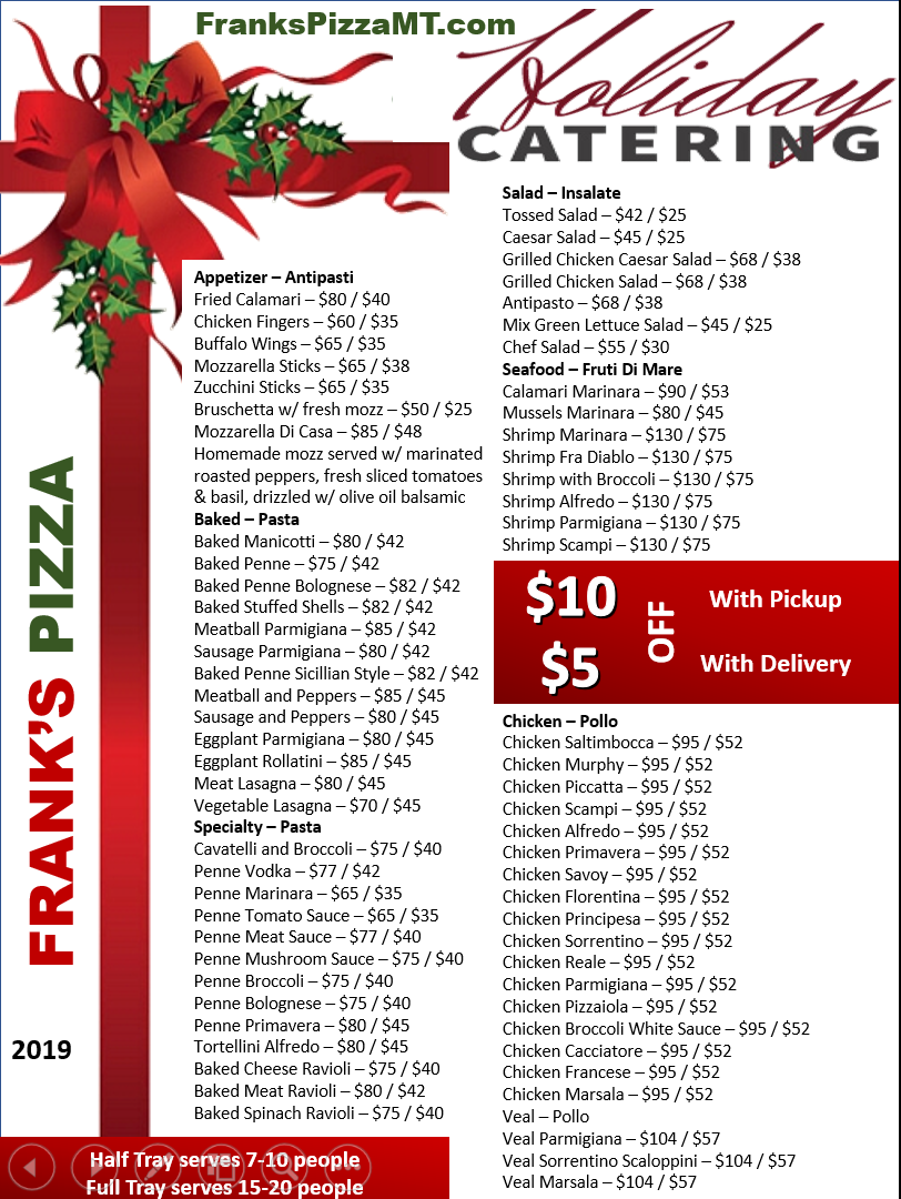 Franks Pizza mt arlington holiday catering flyer