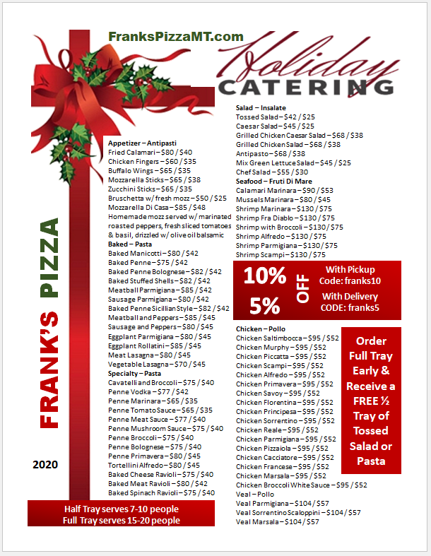 franks catering pricing